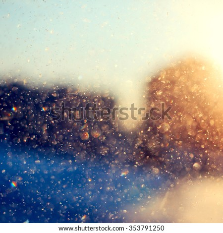 Defocused colorful winter icicles sunlight background  - stock photo
