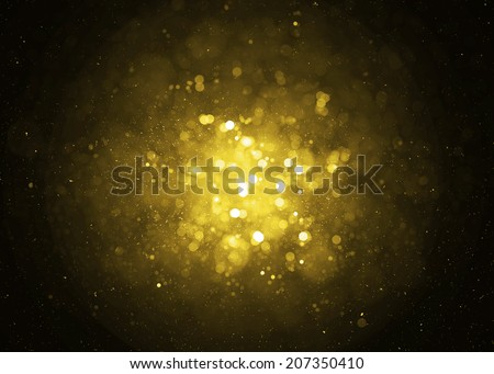 Defocused gold sparkle glitter lights background. Glitter bokeh background - stock photo