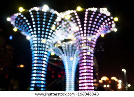 Defocused lights like the vase shape - stock photo