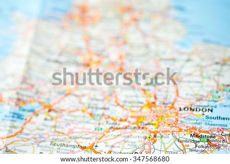 Defocused macro view of England , United Kingdom on map. - stock photo