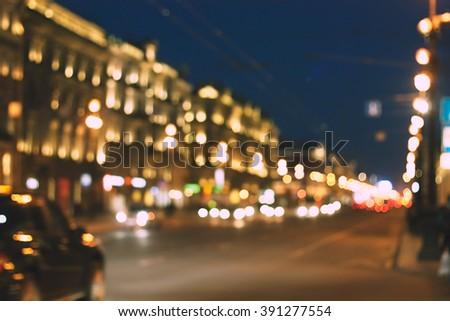 defocused night city, white nights in St. Petersburg, Russia - stock photo