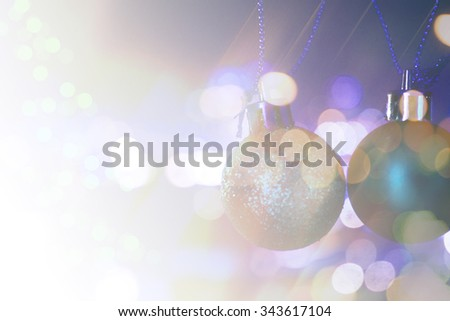 Defocused of Merry Christmas and happy new year decoration background. - stock photo