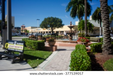 Defocused park and shopping mall