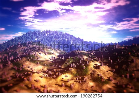 Deforestation Aerial 3D illustration artwork Human clean huge areas every day on Earth that can cause soil erosion destruction, water cycle, loss of biodiversity and climate change. - stock photo