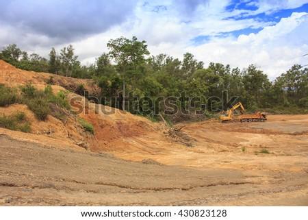 Deforestation environmental problem: destruction of rainforest to make way for oil palm plantations - stock photo