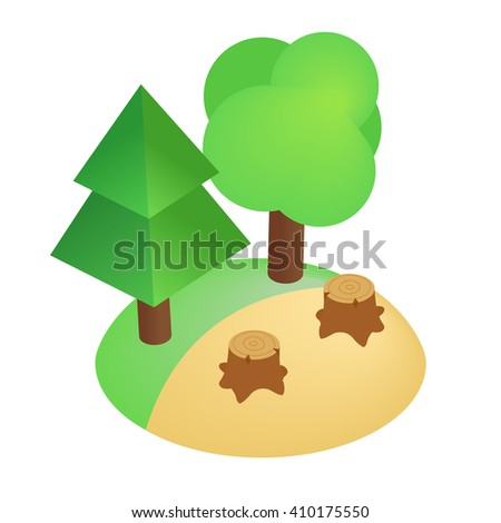 Deforestation icon, isometric 3d style - stock photo