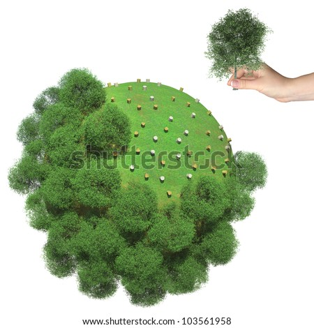 Deforestation on the little green planet. Human hand holds cut tree - stock photo