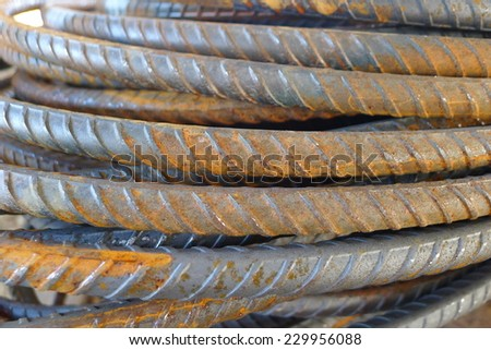 Deformed bar or Ribbed bar become rusty - stock photo