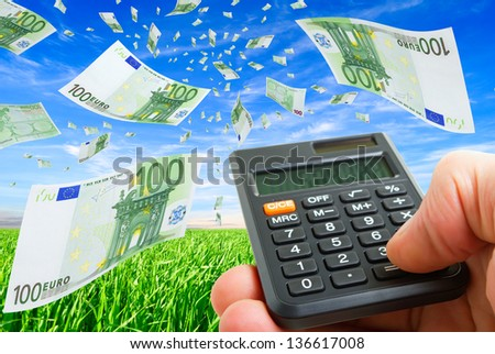 Deformed euro banknotes in flight on a blue sky. - stock photo