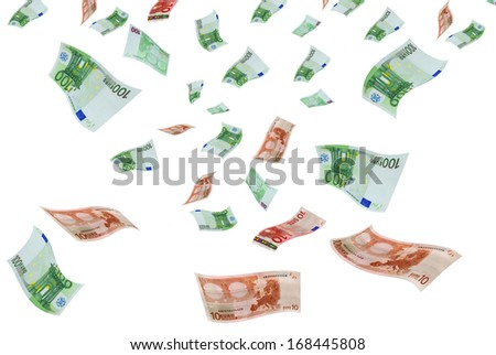Deformed euro banknotes in flight on a white background. - stock photo