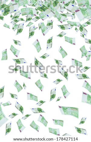 Deformed euro banknotes in flight on a white background.