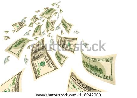 Deformed hundred dollar bills on white. - stock photo