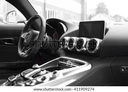 Deggendorf, Germany - 23. APRIL 2016: interior of a 2016 Mercedes GT S during the luxury cars presentation in Deggendorf.  - stock photo