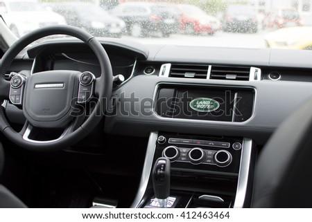 Deggendorf, Germany - 23. APRIL 2016: interior of a 2016 Range Rover Sport SUV during the luxury cars presentation in Deggendorf. - stock photo