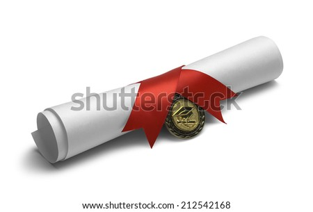 Degree Scroll with Red Ribbon and Diploma Medal Isolated on White Background. - stock photo
