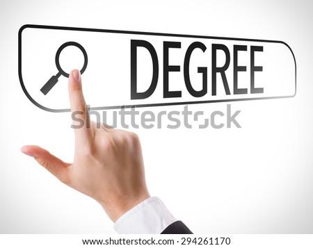 Degree written in search bar on virtual screen - stock photo