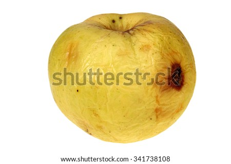 dehydrated shrunken apple, isolated on white with Clipping Path