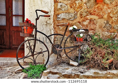 Deia traditional stone village in Majorca , streets decoration - stock photo