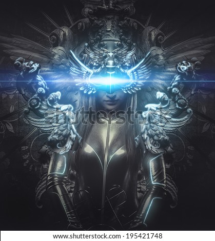 deity, dressed in silver princess, fantasy concept, blonde woman dressed in armor - stock photo