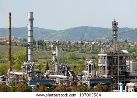DEKANI, SLOVENIA - APRIL 27, 2012: Photo showing chemical plant Kemiplas producing Phtalic anhydrid used in production of plastics. Local community complain of due to the ecological issues.  - stock photo
