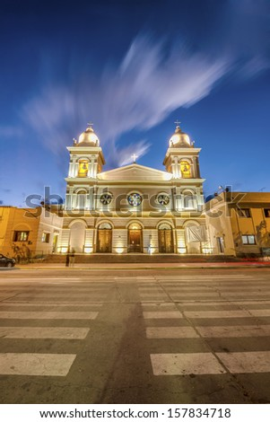 Del Rosario church in Cafayate city in Salta province, northern Argentina. - stock photo