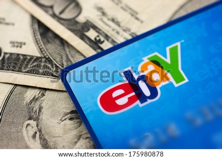 DeLand, FL - February 6, 2014: Ebay credit card issued by Mastercard. - stock photo