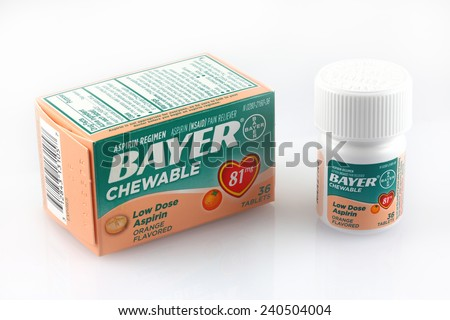 DeLand, FL, USA - December 29, 2014: Bayer Chewable low dose aspirin is recommend for children and for numerous health benefits.  - stock photo
