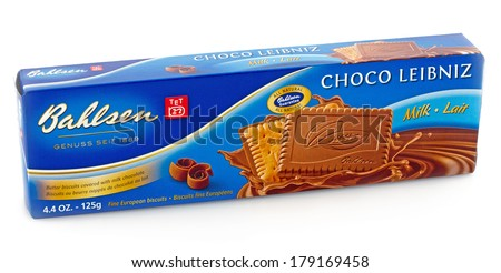 DELAND, FL, USA - FEB 27, 2014:  Bahlsen - Choco Leibniz, European biscuits with chocolate toping.  Available since 1889. - stock photo