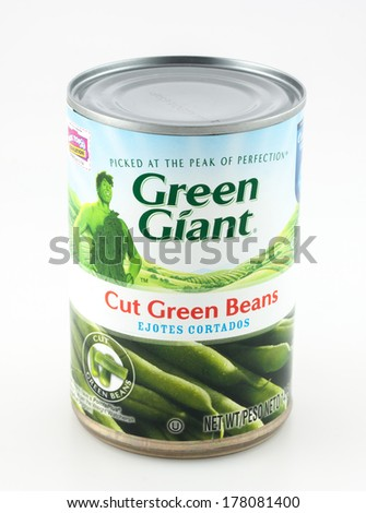 DeLand, FL, USA - February 21, 2014: Jolly Green Giant brand of canned string beans.  - stock photo