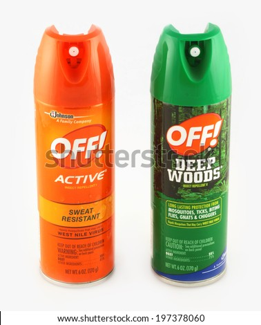 DELAND, FL, USA - June 5, 2014: OFF! is a well-liked brand of insect repellent.  OFF! helps repel mosquitoes, black flies, sand flies, chiggers, fleas, gnats, and no-see-ums. - stock photo