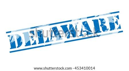 delaware blue stamp on white background - stock photo