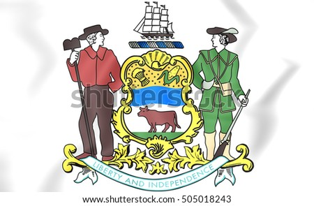 Delaware coat of arms, USA. 3D Illustration.