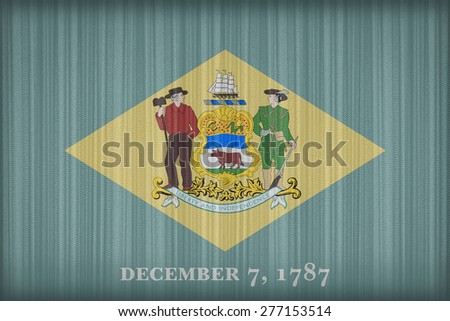 Delaware flag pattern on the fabric curtain, vintage style - stock photo