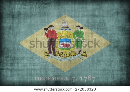 Delaware flag pattern, retro vintage style - stock photo