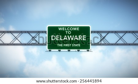 Delaware USA State Welcome to Highway Road Sign - stock photo