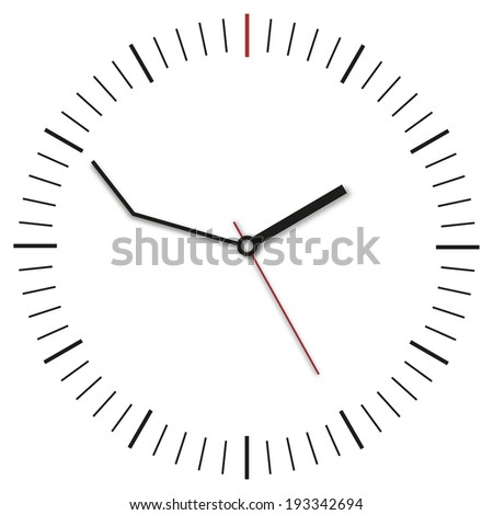 delay clock and white background - stock photo