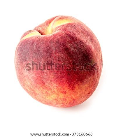 Delectable peachy fruit on white background - stock photo