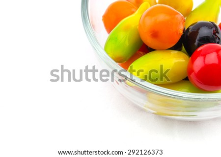 Deletable Imitation Fruits on white background