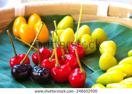 deletable imitation fruits,thai dessert - stock photo