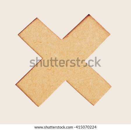 Delete button or Wrong mark icon symbol of wood textur