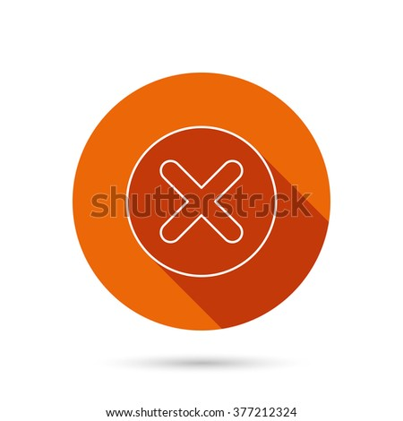 Delete icon. Decline or Remove sign. Cancel symbol. Round orange web button with shadow. - stock photo