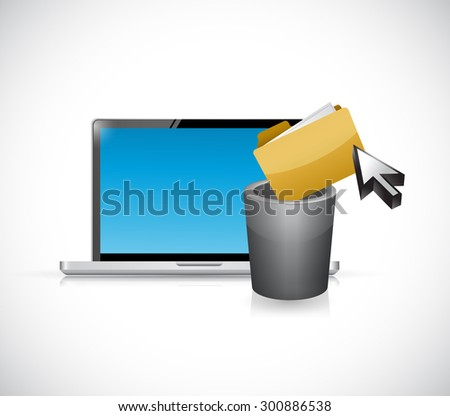 deleting files from computer. illustration design graphic - stock photo