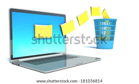 Deleting files from the laptop - stock photo