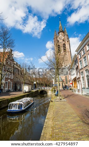 DELFT, NETHERLANDS - APRIL 12: Leaning tower of Oude Kerk on April 12, 2016 in Delft.