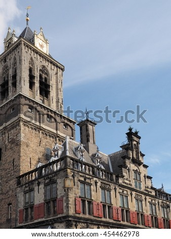 Delft, Netherlands - July 6, 2016:  Architectural detail of the medieval town hall in the city of Delft. - stock photo
