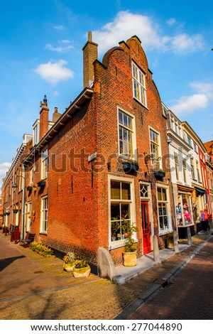 DELFT, NETHERLANDS - MAY 2, 2015: Delft, Netherlands. Delft is a popular touristic destination due to the town centre with canals