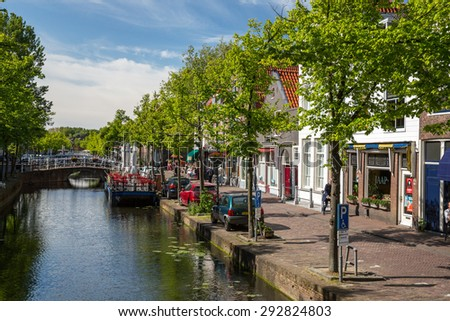 Delft, Netherlands - May 24, 2015: View of the old town in Delft.