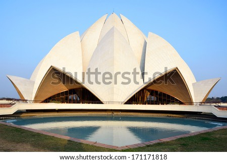 DELHI -Â?Â? DECEMBER 28: Lotus Temple on December 28, 2013 in Delhi.Baha'i House of Worship,also called  Lotus Temple was completed in 1986
