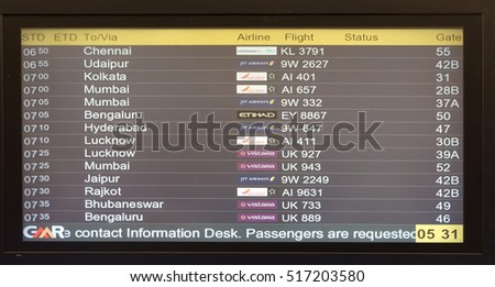 DELHI, INDIA - FEBRUARY 07: Flight board at the airport in Delhi airport, on February 07, 2016 in Delhi, India.