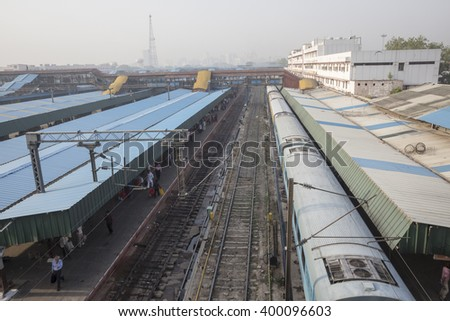DELHI INDIA - JUN 18 : train in platform 1 in new delhi railway station. this station is large station of delhi on june, 18, 2015, india